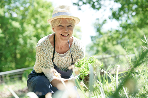 lady in hat gardening